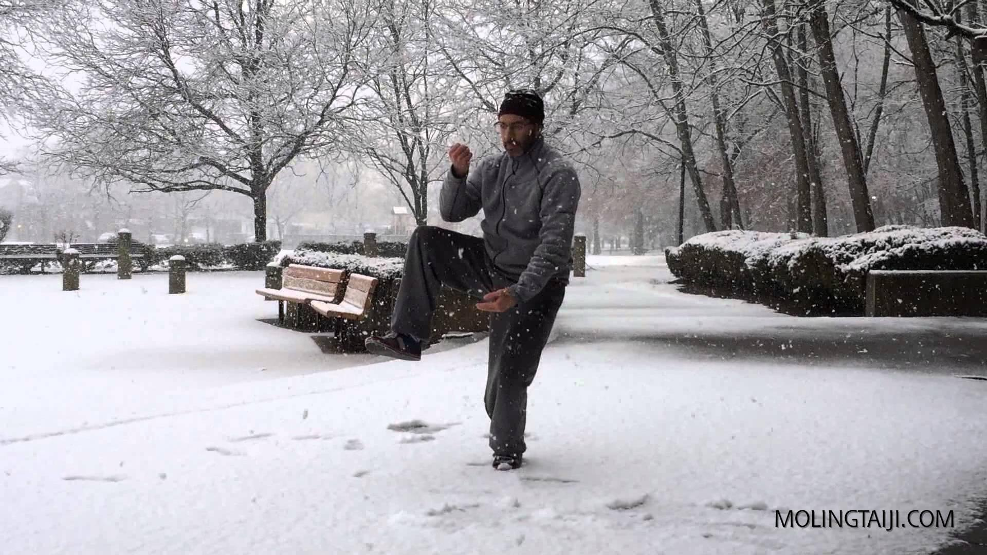 Chen Shi Taijiquan 5 moves on Ice & Snow; How to pull a groin in 5 easy moves..